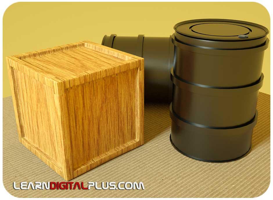 طراحی جعبه و بشکه در سینما4دی
