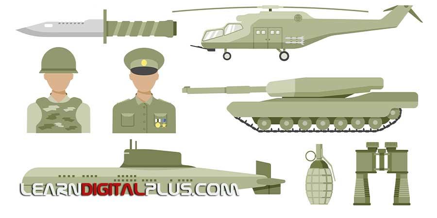 وکتور اینفوگرافیک تجهیزات نظامی