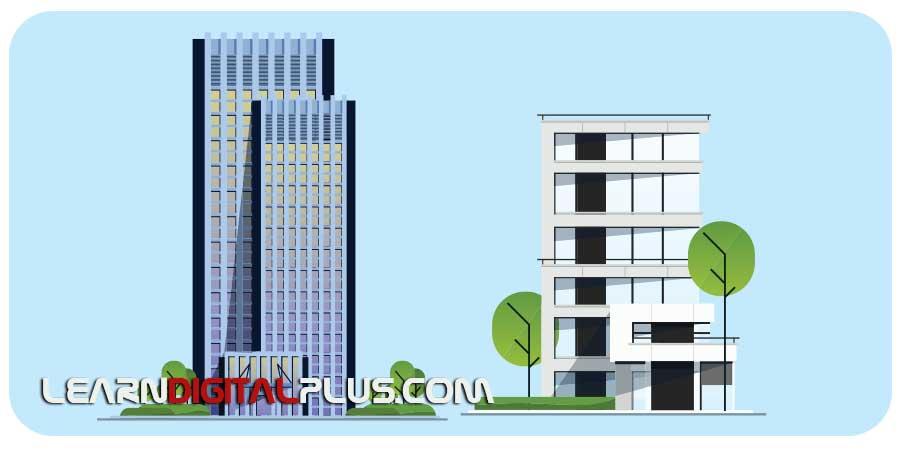 وکتور ساختمان نمای مختلف