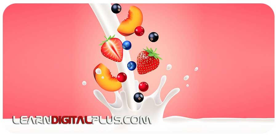 وکتور میوه های مختلف در شیر
