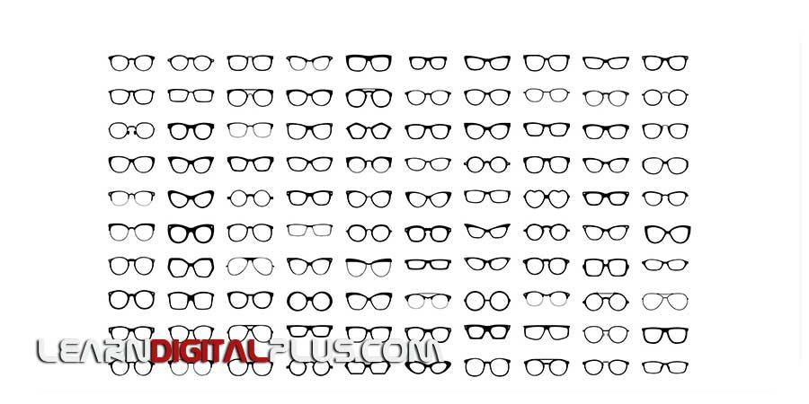 فایل لایه باز عینک متنوع