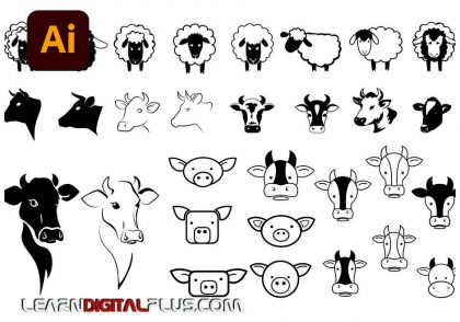 وکتور طرح های لیزری حیوانات