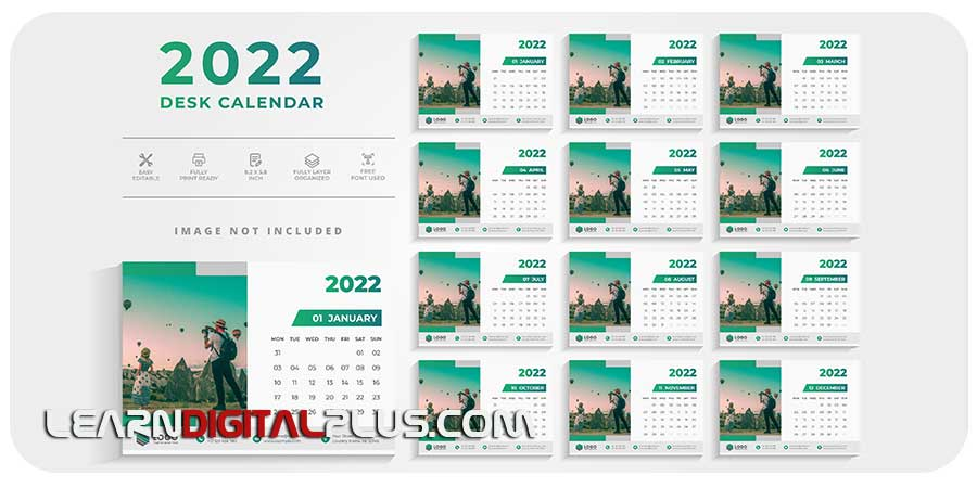 قالب وکتور تقویمهای رومیزی 2022
